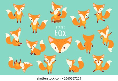 Set of cute cartoon foxes in modern simple flat style, Isolated vector illustration,Hand draw.