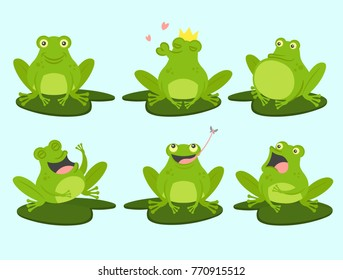 set of cute cartoon frogs cute croaking in love laughing frightened - Images Of Frogs