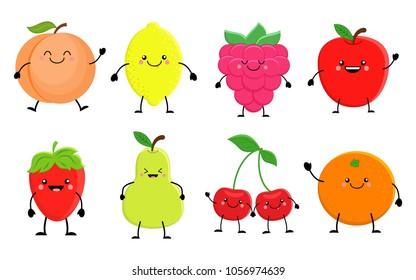 Set of cute cartoon fruit. Lemon, orange, apple pear,raspberry, cherry,  strawberry, peach. Vector illustration isolated on white background. Kawaii fruits