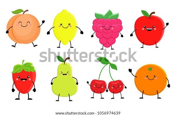 Vetor Stock De Conjunto De Frutas De Desenho Animado Livre