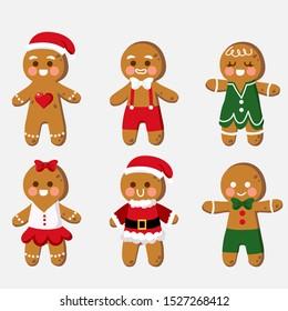 Set of cute cartoon gingerbread man cookies Clip-art. Christmas vector illustration.