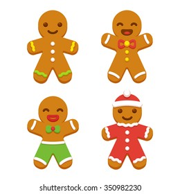 Set of cute cartoon gingerbread man cookies. Christmas vector illustration.