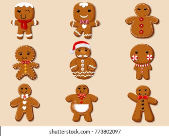 Set cute cartoon Gingerbread man cookies. Collection of merry Christmas and New Year. vector illustration.
