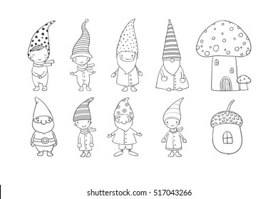 Set of cute cartoon gnomes. Funny elves. Hand drawing isolated objects on white background. Vector illustration.  Coloring book