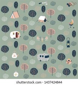 Set of cute cartoon hand drawn scandinavian style camping equipment symbols and icons, hiking, and camping doodle elements, vector illustration, camp clothes, shoes, gear, food. Seamless pattern.