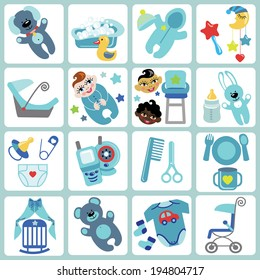 A set of cute cartoon icons for newborn baby boy. Baby cartoon items,scrapbooking elements.Vector illustration