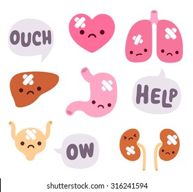 Set of cute cartoon internal organs with sad faces and bandages. Speech bubbles expressing pain.
