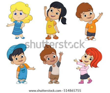 4e264fdbefddbc Set Cute Cartoon Kidsvector Illustration stockvector (rechtenvrij ...
