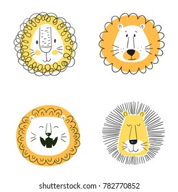 Set of cute cartoon lions. Funny doodle animal heads. Vector illustration