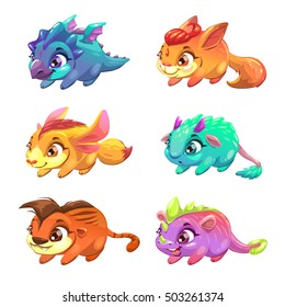 Set of cute cartoon little monsters. Fantasy animals collection. Vector comic pet icons, isolated on white.