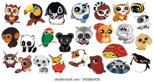 Set of cute cartoon little wild animals. Kids love. Vector collection