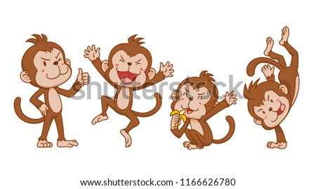 set cute cartoon monkeys different poses stock vector royalty free