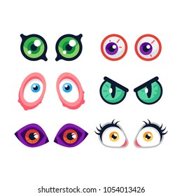 Set of cute cartoon monster eyes on white background. Flat vector illustration.
