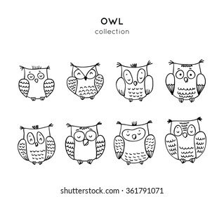 Set of cute cartoon owls in vector for greeting card and invitation
