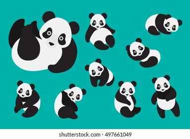 Set of cute cartoon panda in modern flat style. Animal character design.