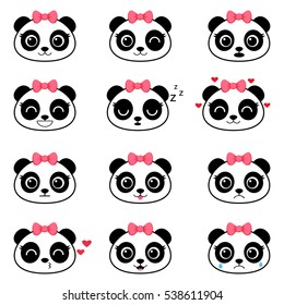 Set of cute cartoon pandas with various emotions