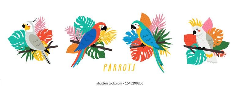 set with cute cartoon parrots illustrations with different palm and monstera leaves in bright colors. Vector illustration of parrot on white background