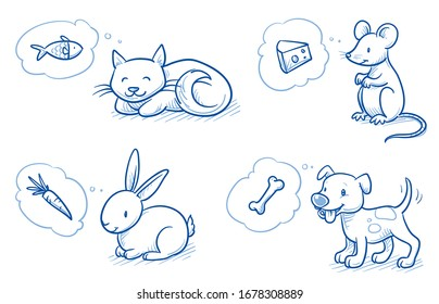 Set of cute cartoon pets (Cat, do, mouse, rabbit) with their favorite food in thought bubbles. Hand drawn doodle vector illustration.