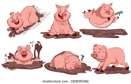 Set of cute cartoon pig. Pigs characters posing in different situations set. Pig cartoon action set, in different situations, running, playing in the mud, fun, sleeping. Vector illustration