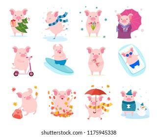 Set of cute cartoon pigs. Vector illustration for calendar, card, banner, postcard and printable