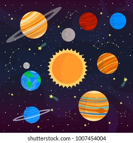 set with cute cartoon planets on cosmic background. can be used for cards or like posters