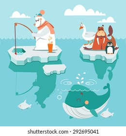 Set of cute cartoon polar north inhabits sitting on icebergs. White polar bear,penguin,walrus and seagull. Cartoon characters. Vector illustration