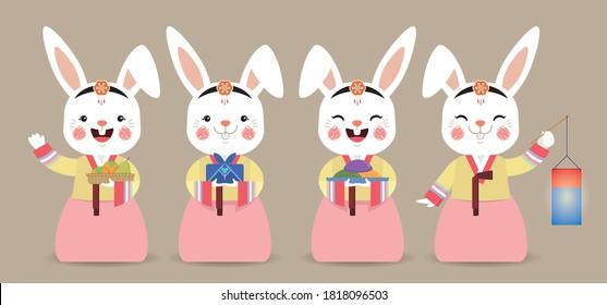 Set of cute cartoon rabbit wearing Korea hanbok with persimmons, gift, songpyeon & lantern. Chuseok or Korea Thanksgiving Day character design. Flat vector illustration.
