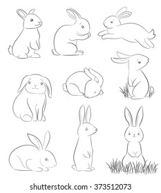 set of cute cartoon rabbits. line art vector drawing