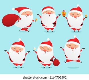 Set of cute cartoon Santa Clauses vector illustration.