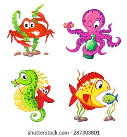 Set of cute cartoon sea animals isolated on white background. Crab, seahorse, starfish, octopus, fishes