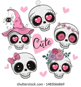 Set of Cute Cartoon skulls with flowers and hearts on a white background