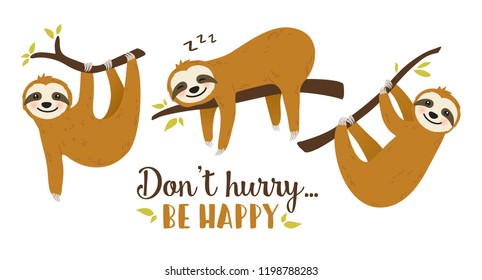 Set of Cute cartoon sloth vector graphic design. Adorable hand drawn baby sloth characters hanging on the tree. Illustration for nursery design, poster, greeting, birthday card, baby shower and party