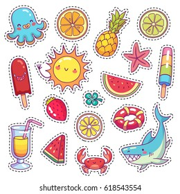 Set of cute cartoon stickers for children with sea animals, food and things in vector. Doodle patch badges with different summer holiday attributes on white background.