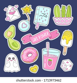 Set of cute cartoon stickers, pins, patches: ice cream, avacado, smoothie, donut, cacti, diary and other elements for girls. Perfect for card, scrapbooking , tag, invitation, sticker kit.