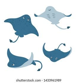 Set of cute cartoon stingrays. Vector illustration of manta ray.