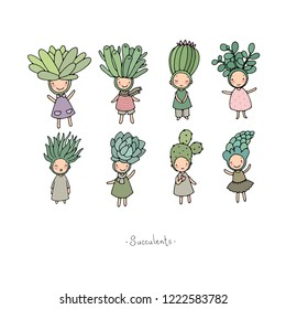 Set with cute cartoon succulents. Little funny fairy. Vector illustration. funny elves.  cactus character