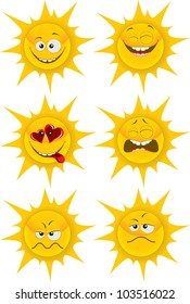set of cute cartoon sun emotions for web-design, graphic design and mobile weather gadget. isolated on white grouped separately