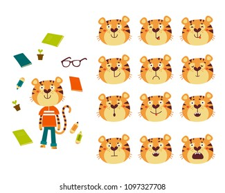 Set of cute cartoon tiger with various emotions. Vector animals set