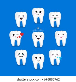 Set of cute cartoon tooth emoticons with different facial expressions. Dental care concept. Illustration isolated on blue background.