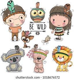 Set of Cute Cartoon tribal girl and boy and animals