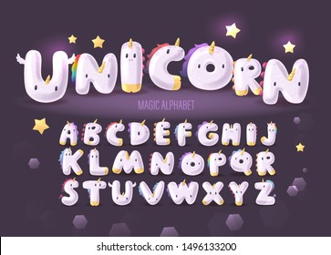 Set of Cute Cartoon Unicorn Alphabet on  a dark background. Magic childish handcrafted typeface for friendly text. Сollection of letters for invitation card for fairy party