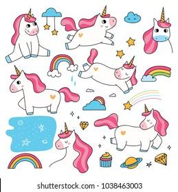 Set of cute cartoon unicorn doodle element