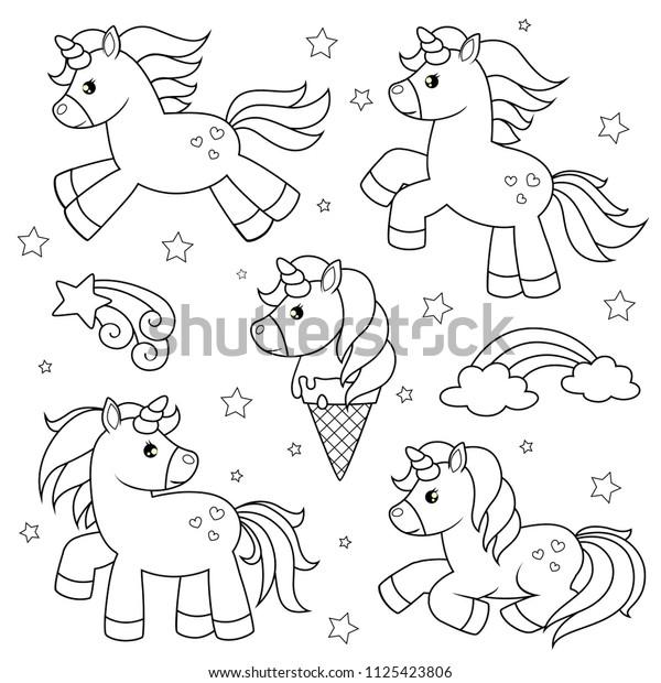 Vetor Stock De Conjunto De Unicornios Bonitos Desenhos Animados