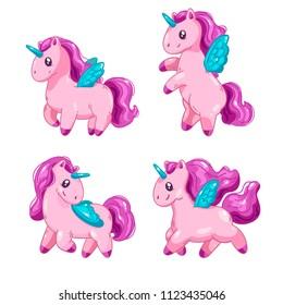 Set of cute cartoon unicorns, fantasy little beautiful horsees for game design.