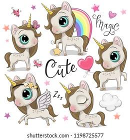 Set of Cute Cartoon Unicorns isolated on a white background