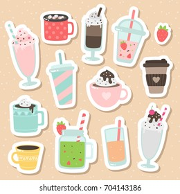 Set of cute cartoon vector drinks icons. Non-alcoholic beverages: tea, hot chocolate, latte,  coffee, smoothie, milkshake, lemonade, orange juice, cappuccino.