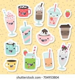 Set of cute cartoon vector drinks caracters. Non-alcoholic beverages: tea, hot chocolate, latte,  coffee, smoothie, milkshake, lemonade, orange juice, cappuccino.