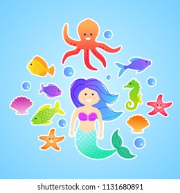Set of cute cartoon vector mermaid underwater stickers