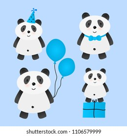 Set of cute cartoon vector panda for birthday card design