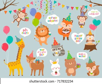 Set of cute cartoon wildlife animals illustration for greeting / invitation birthday card design